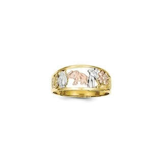 10 Karat Gold Two-tone & White Rhodium Good Luck Ring