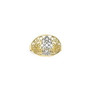 10 Karat Gold & Rhodium Filigree Heart Ring