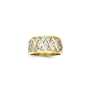 10 Karat Gold & Rhodium Diamond-Cut Filigree Ring