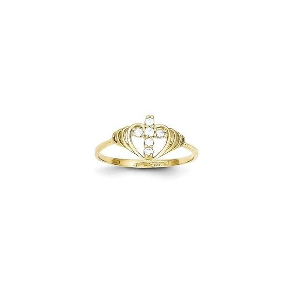 10 Karat Gold CZ Cross Ring Free Shipping Today Overstockcom