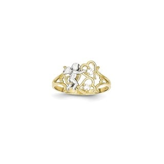 10 Karat Gold & Rhodium CZ Angel w/Hearts Ring
