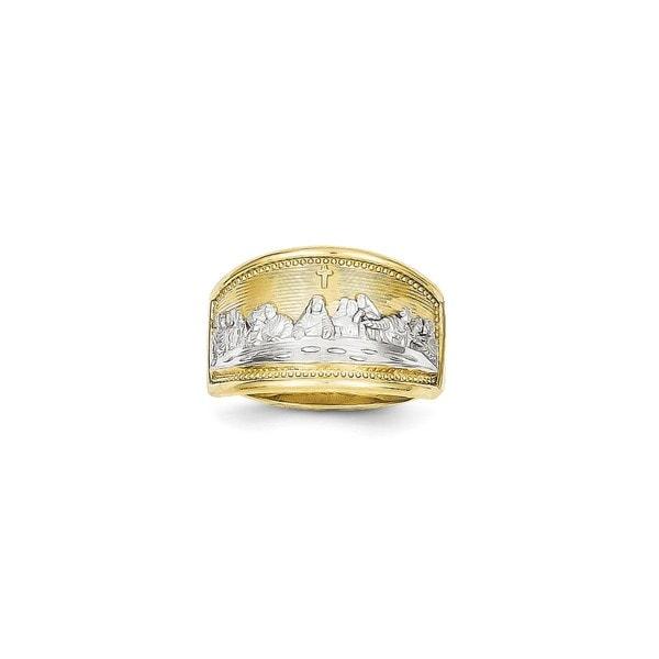 10 Karat Gold Rhodium Ladies Last Supper Ring Free Shipping