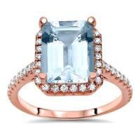 Noori 14k Rose Gold 2 1/3ct TGW Emerald-cut Aquamarine Diamond Engagement Ring - Blue
