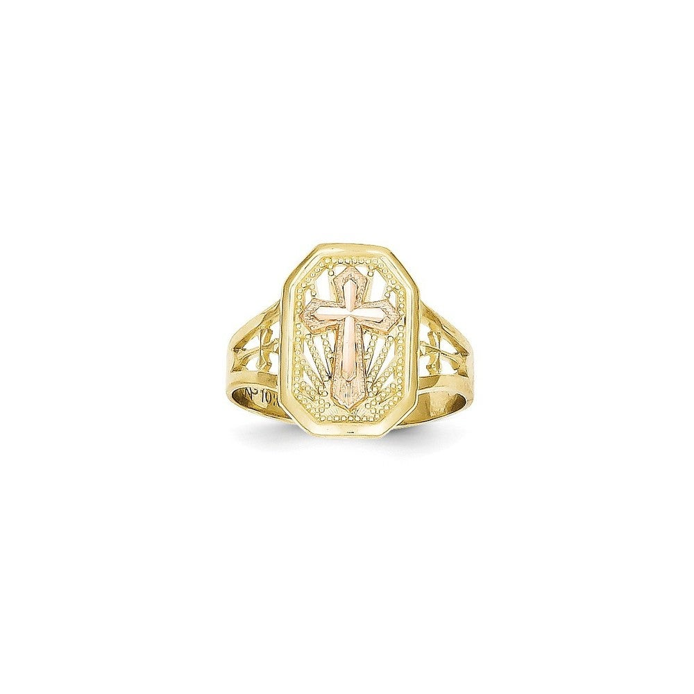 Shop 10k Yellow And Rose Gold Diamond Cut Filigree Cross Ring By Versil Overstock 16402748 6 Yellow Rose
