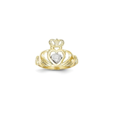 10K Yellow Gold and Rhodium-plated Polished Claddagh Ring by Versil
