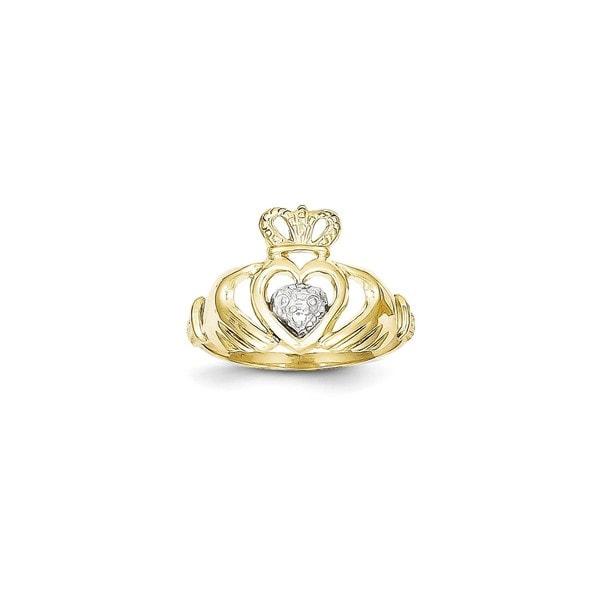 10 Karat Gold Rhodium Claddagh Ring Free Shipping Today