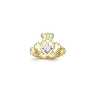 10 Karat Gold & Rhodium Claddagh Ring