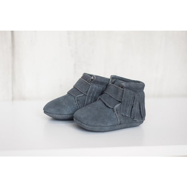 Grey Moccasin Baby Shoes