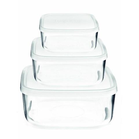 Glass Food Storage Containers Bormioli Rocco Frigoverre Basic 3-piece Square Glass Set