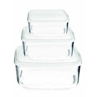 Glass Food Storage Containers Bormioli Rocco Frigoverre Basic 3-piece Square Glass Set