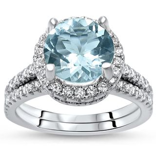 Noori 14k White Gold 2 1/10ct TGW Round Cut Aquamarine Diamond Engagement  Ring