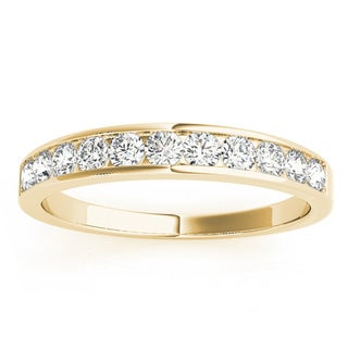 JewelMore 14k Yellow Gold 1/2ct TDW Diamond Anniversary Band (H-I, I2-I3)