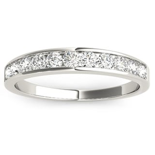 JewelMore 14k White Gold 1/2ct TDW Diamond Anniversary Band (H-I, I2-I3)