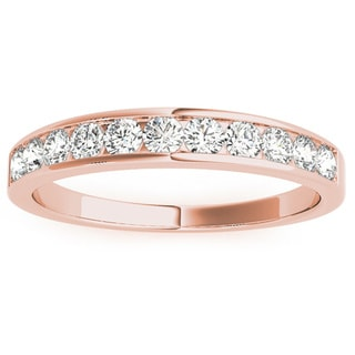 JewelMore 14k Rose Gold 1/2ct TDW Diamond Anniversary Band (H-I, I2-I3)
