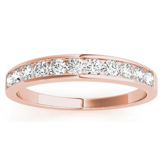 JewelMore 14k Rose Gold 1/4ct TDW Diamond Anniversary Band (G-H, I1-I2)