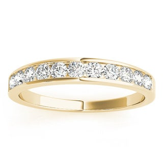 JewelMore 14k Yellow Gold 1/4ct TDW Diamond Anniversary Band (G-H, I1-I2)