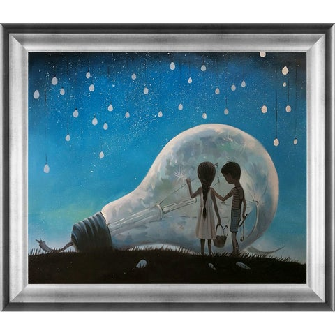 Adrian Borda 'The Night We Broke The Moon' Hand Painted Framed Oil Reproduction on Canvas