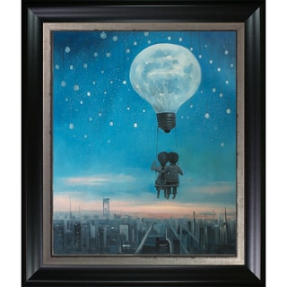 Adrian Borda 'Our Love Will Light The Night' Hand Painted Framed Oil Reproduction on Canvas