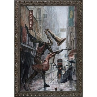 Adrian Borda 'Life Is a Dance in The Rain Instrumental' Hand Painted Framed Oil Reproduction on Canvas
