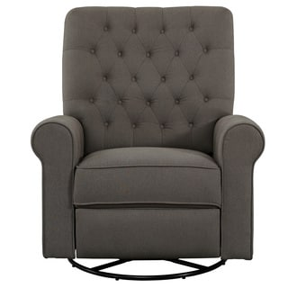 Fresh Pewter Fabric Button-tufted Traditional Swivel Glider Recliner