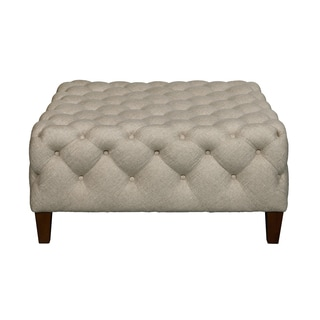 Square Sateen Linen and Wood Button Tufted Cocktail Ottoman