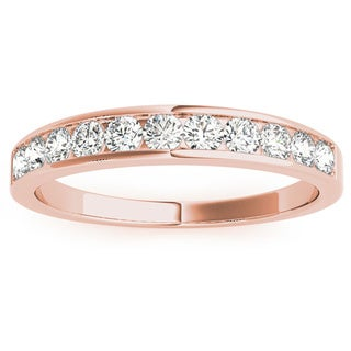 JewelMore 14k Rose Gold 1ct TDW Diamond Anniversary Band (H-I, I2-I3)