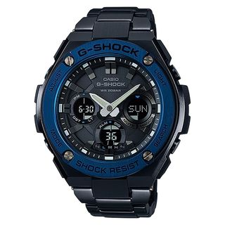 Casio Men's GSTS110BD-1A2 'G-Shock' Analog-Digital Black Stainless Steel Watch