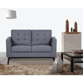 Scully Modern Linen Fabric Button-tufted Upholstered Loveseat