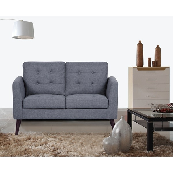 Scully Modern Linen Fabric Button Tufted Upholstered Loveseat