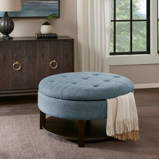 Madison Park Javier Denim/ Morocco Round Storage Ottoman