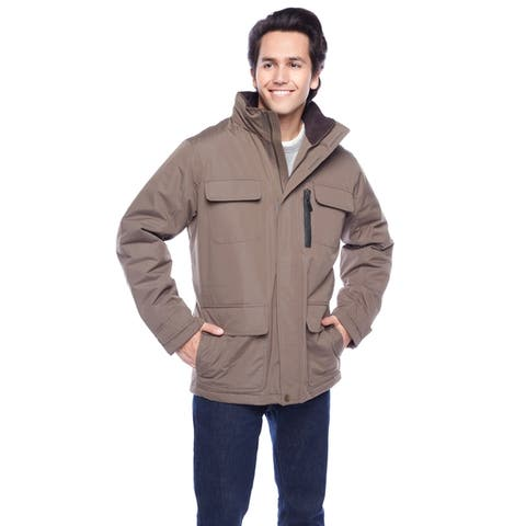 London Fog Men's 31-inch Heavy Peached Taslon Utility Coat w/Cord Top Collar