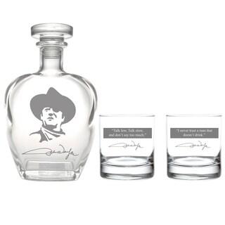 John Wayne Quotes 3-Piece Whiskey Decanter Set