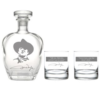 John Wayne Quotes 3-Piece Whiskey Decanter Set