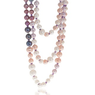 Pearls For You Multi-strand Ombre Freshwater Pearl and Gemstone Necklace