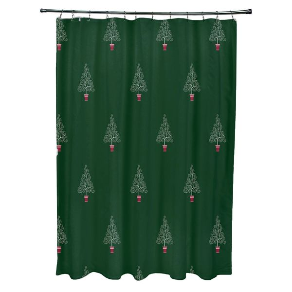 Filigree Forrest Holiday Print Shower Curtain