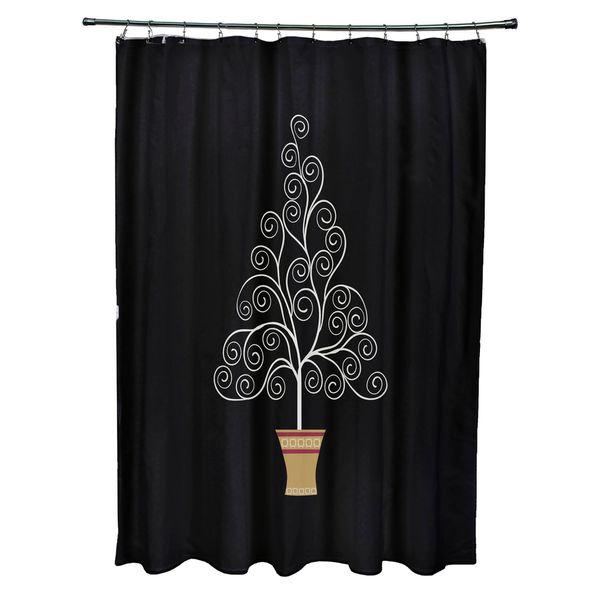 Filigree Tree Holiday Print Shower Curtain