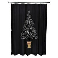 Filigree Tree Holiday Print Shower Curtain
