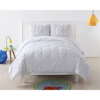 Laura Hart Kids Pinch Pleat Solid 3 Piece Comforter Set