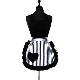 Women's Vintage Darling Black and White Striped Heart Apron