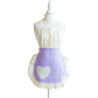 Women's Vintage Darling Pastel and Ruffle Heart Apron