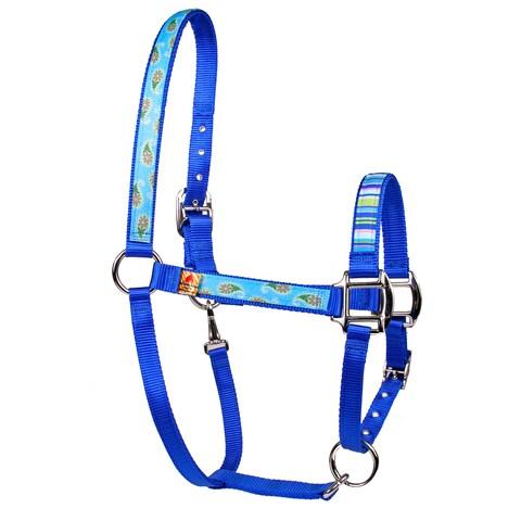 Red Haute Horse Blue Paisley on Blue Nylon Horse Halter
