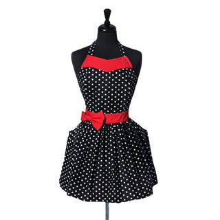 Women's Party Girl 50s Vintage Polka Dot Apron with Red Sash