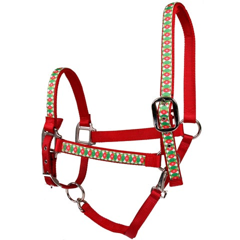 Red Haute Horse Christmas Cheer on Red Nylon Horse Halter