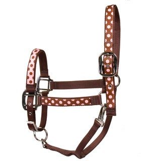 Red Haute Horse Pink/Brown Polka Dot on Brown Nylon Horse Halter