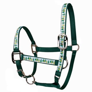 Red Haute Horse Winter Trees on Green Nylon Horse Halter