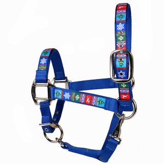 Red Haute Horse Alpine on Blue Nylon Horse Halter