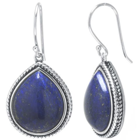 Sterling Silver Dyed Lapis Drop Earrings