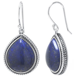 Sterling Silver Dyed Lapis Drop Earrings