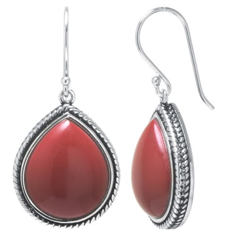 Sterling Silver Simulated Red Jasper Drop Earrings