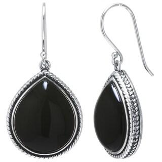 Sterling Silver Onyx Drop Earrings